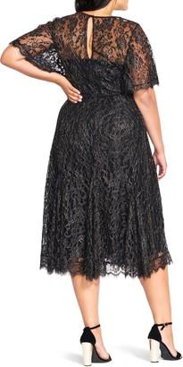 City Chic Metallic Lace Swing Cocktail Dress
