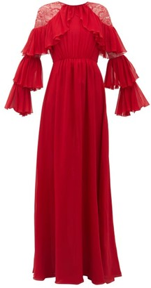 Giambattista Valli Ruffled Lace-trimmed Silk-georgette Gown - Red
