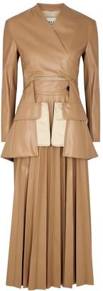 A.W.A.K.E. Mode Camel Pleated Faux Leather Dress