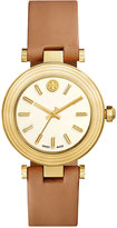 Tory Burch Women's Swiss Classic T Light Brown Leather Strap Watch 36mm TRB9002