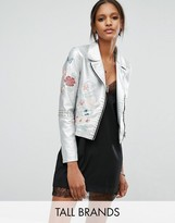 Glamorous Tall Metallic Faux Leather Jacket With Floral Embroidery