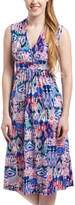 Glam Navy & Pink Abstract Surplice Dress