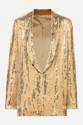 Alice + Olivia Jace Sequined Tulle Blazer - Gold