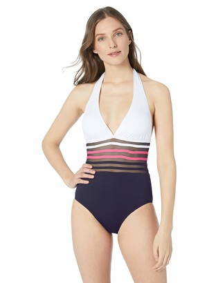 Nautica Women's Classic Halter Mesh Inset One Piece Swimsuit