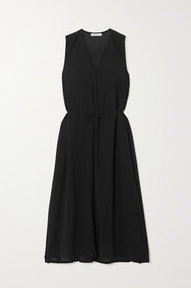 Vince Cotton-voile Midi Dress - Black