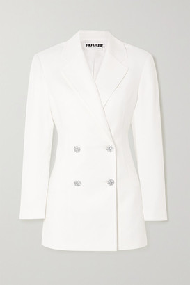 Rotate by Birger Christensen Fonda Double-breasted Crystal-embellished Twill Mini Dress - White