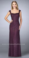 La Femme Beaded Lace Scoop Back Evening Dress