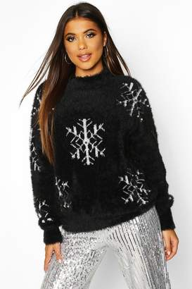 boohoo Premium Snowflake Fluffy Christmas Jumper
