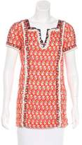 Tory Burch Printed Fringe-Trimmed Top
