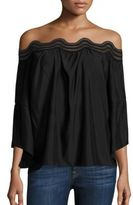 Ramy Brook Priscilla Lace Detail Off-the-Shoulder Top