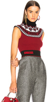 Fendi Cropped Turtleneck Sweater in Red.