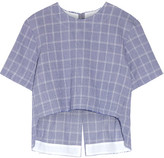 Tim Coppens Checked Crinkled Cotton-blend Top - Royal blue