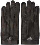 Prada Black Leather Logo Gloves