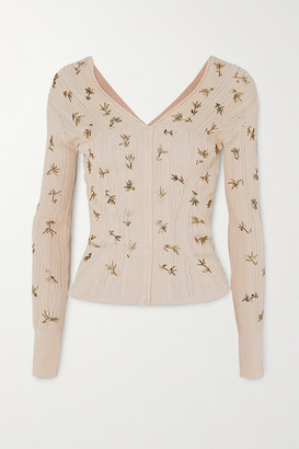 Chloé Embellished Ribbed Silk And Cotton-blend Sweater - Beige