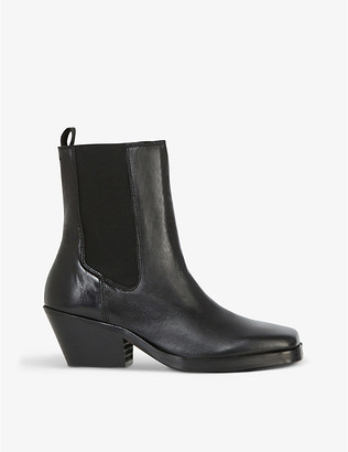The Kooples Square-toe leather ankle boots