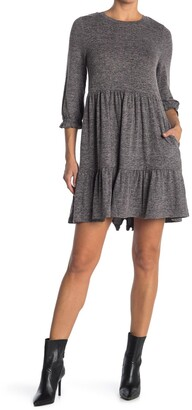 MelloDay Knit Crew Neck 3/4 Sleeve Babydoll Dress