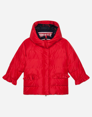 Dolce & Gabbana Nylon Down Jacket With Ruches