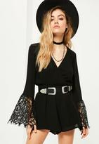 Missguided Petite Black Lace Sleeve Playsuit, Black