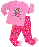 YOUJIA Girls 2pcs Pajama Set Longsleeve Pjs - T-Shirt and Raindrops Pants