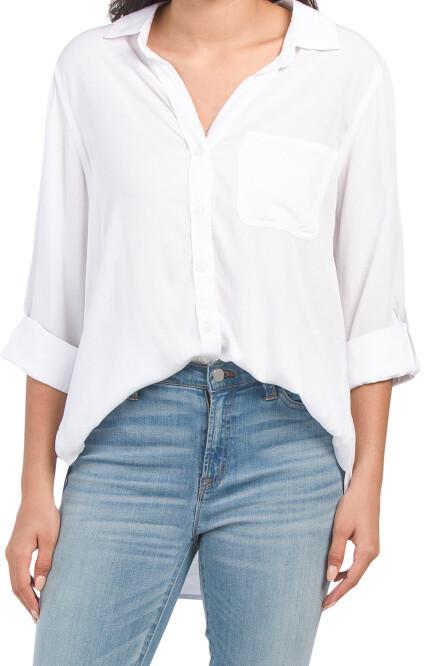 Size ML \u2022\u00a01990s Black and White Geo Print Button Down Tunic Blouse wPockets