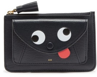 Anya Hindmarch Zany Grained-leather Card And Coin Purse - Dark Blue