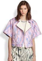 3.1 Phillip Lim Woodgrain-Print Kimono-Sleeved Biker Jacket
