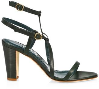 Manolo Blahnik Roca Double Ankle-Strap Leather Sandals