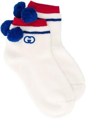 Gucci Pom Pom Striped Socks