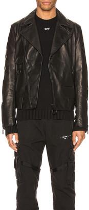 Off-White Leather Biker Jacket in Black | FWRD