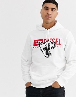 Diesel S-Gir-Hood-BX1 animal graphic hoodie in white