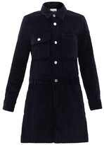 Thumbnail for your product : RED Valentino Long-sleeved Cotton-corduroy Playsuit - Navy