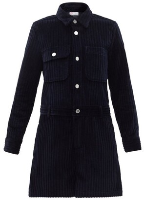 RED Valentino Long-sleeved Cotton-corduroy Playsuit - Navy