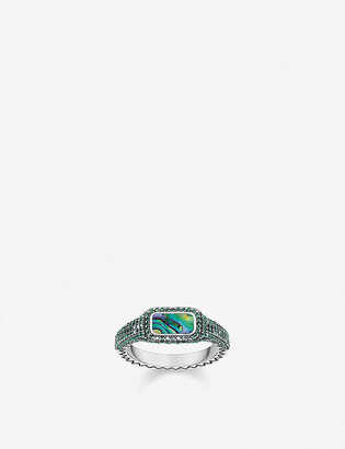 Thomas Sabo Play Of Colours sterling silver, glass stones and abalone mother-of-pearl ring