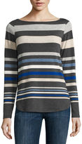 Liz Claiborne Long-Sleeve Envelope-Hem Stripe Top