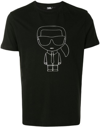 Karl Lagerfeld Paris K/Ikonik Outline-print cotton T-shirt