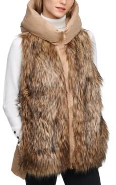 DKNY Hooded Faux Fur Puffer Vest