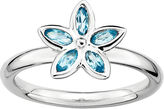 JCPenney FINE JEWELRY Personally Stackable Genuine Blue Topaz Sterling Silver Flower Ring