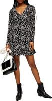Topshop Flippy Animal Print Long Sleeve Dress
