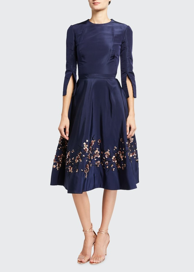 Oscar de la Renta Embroidered Taffeta Dress
