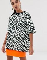 Asos DESIGN animal print oversized t-shirt with stud embellishment