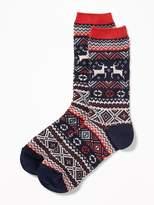 Old Navy Go-Warm Fair Isle Crew Socks for Women