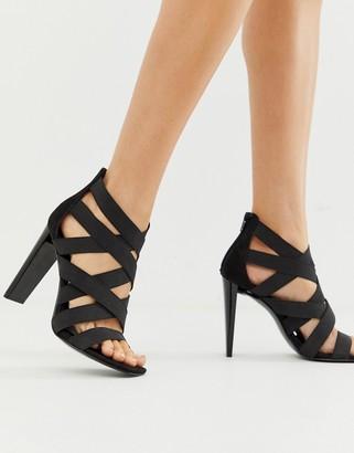 Asos Design DESIGN Hunt elastic strappy block heeled sandals-Black