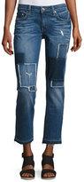10 Crosby Derek Lam Mila Patchwork Mid-Rise Slim Boyfriend Jeans, Blue
