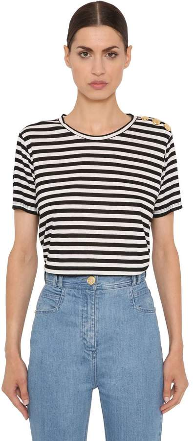 Balmain Striped Viscose Jersey T-Shirt