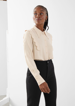 And other stories Scalloped Jacquard Shirt