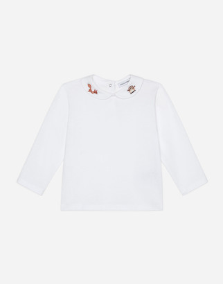 Dolce & Gabbana Long-Sleeved T-Shirt With Embroidery
