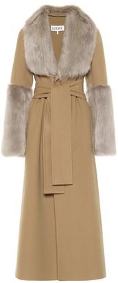 Loewe Shearling trimmed belted coat