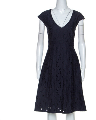 Ermanno Scervino Navy Blue Lace Knee Length Dress L