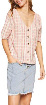 Sadie & Sage Elbow Sleeve Koa Stripe Top