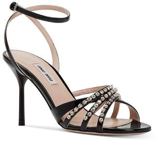 Miu Miu Women's Crystal-Embellished High-Heel Sandals